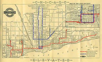 Old Map Photograph - Old Chicago Elevated Train Map by Stephen Stookey