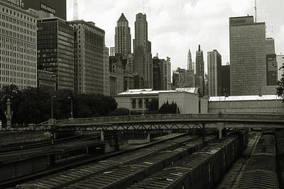 Photograph - Old Chicago Photo - Downtown Skyline And Freight Trains by Art America Gallery Peter Potter