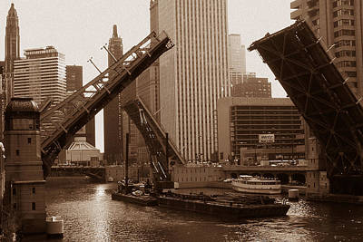 America Drawing - Old Chicago River Bridges by Art America Online Gallery