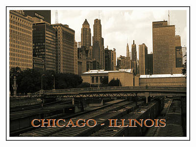 Photograph - Old Chicago Skyline Poster by Peter Potter