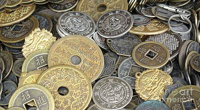 Photograph - Old Chinese Coins And Money by Yali Shi