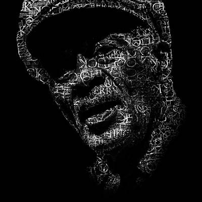 Rock N Roll Icons Digital Art - Old Chuck Berry Text Portrait - Typographic Face Poster With The Name Of Chuck Berry Albums by Jose Elias - Sofia Pereira