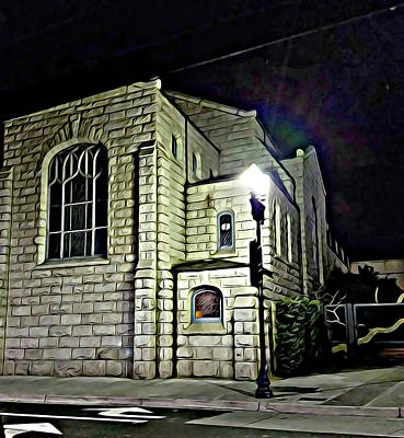 Digital Art - Old Church Building At Night Abstract Original Digital Art by Elizavella Bowers
