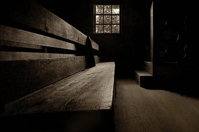 Photograph - Old Church - Pew - Sepia by Nikolyn McDonald