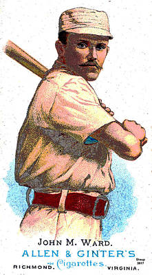 Mixed Media - Old Cigarette Baseball Card by Charles Shoup