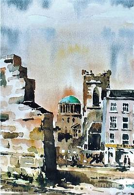 Painting - F 828  Old City Wall, Dublin by Val Byrne