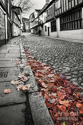 Old Cobbled Street Black And White Art Print