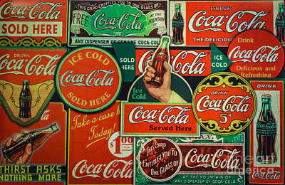 Old Coca-cola Sign Collage Art Print