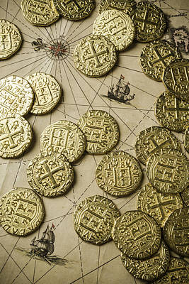 Old Coins On Old Map Art Print by Garry Gay