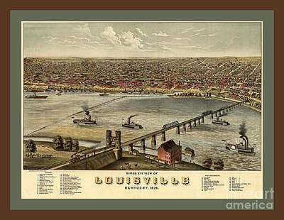 Slugger Painting - Old Collectable Poster Map Of Louisville Kentucky by Pd