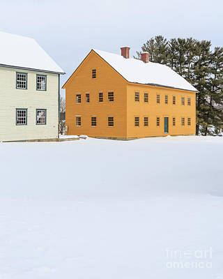 New England Village Photograph - Old Colonial Wood Framed Houses In Winter by Edward Fielding