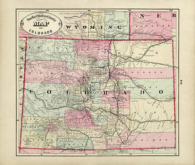 Drawing - Old Colorado Map By George Franklin Cram - 1882 by Blue Monocle