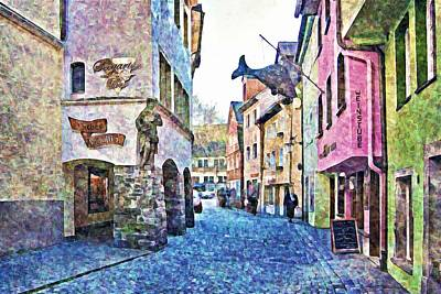 Photograph - Old Colorful Street - Digital Paint by Tatiana Travelways
