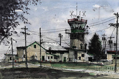Traffic Control Painting - Old Control Tower At Reese Afb by Tim Oliver