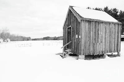 Photograph - Old Corn Crib Muster Field Farm Winter by Edward Fielding