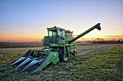 Photograph - Old Corn Picker Sunset by Bonfire Photography
