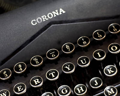 Typewriter Keys Photograph - Old Corona Typewriter Print by Lisbet Sjoberg