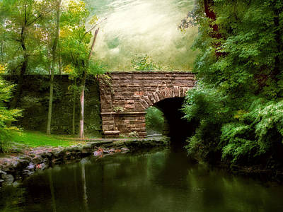 Rural Digital Art - Old Country Bridge by Jessica Jenney