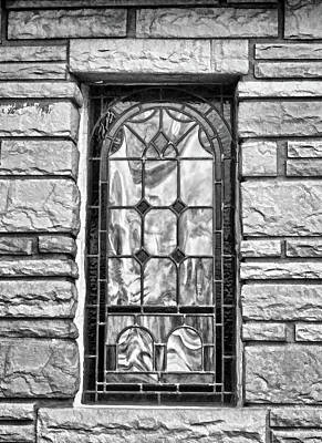 Photograph - Old Country Church Stained Glass Window Black And White by Sandi OReilly