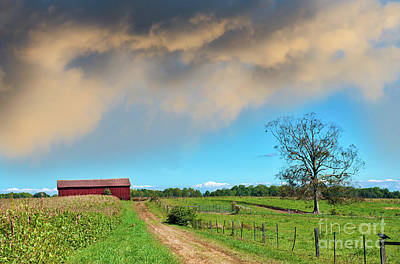 Photograph - Old Country Dirt Road Leading To A Red Barn On A Maryland Farm by Patrick Wolf