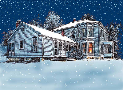 Nighttime Mixed Media - Old Country Home by John Lautermilch