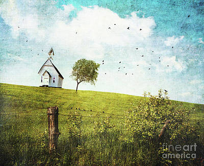 Old Country School House  On A Hill  Print by Sandra Cunningham