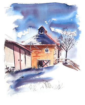 Old Country School Snowdrift Art Print by Harley Harp