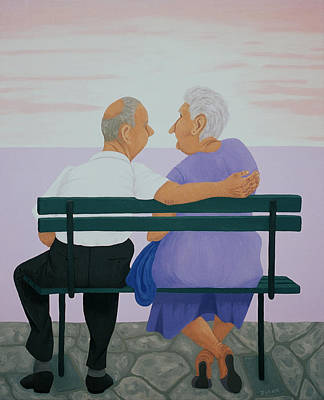 Greece Painting - Old Couple On Bench At Sunset by Diana Kordas