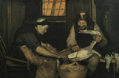 Elderly People Painting - Old Couple Plucking Gulls. Lars Gaihede And Old Lene by Anna Ancher
