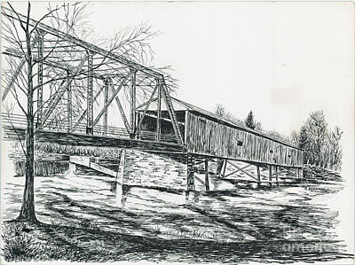 Old Covered Bridge Art Print by Samuel Showman