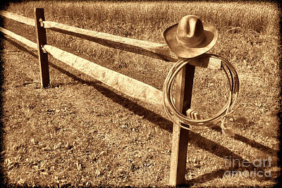 Photograph - Old Cowboy Hat On Fence by American West Legend By Olivier Le Queinec