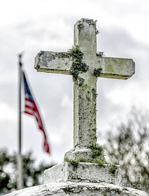 Photograph - Old Cross And American Flag by Kathleen K Parker