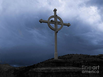 Photograph - Old Cross - Blue Sky by Tony Baca