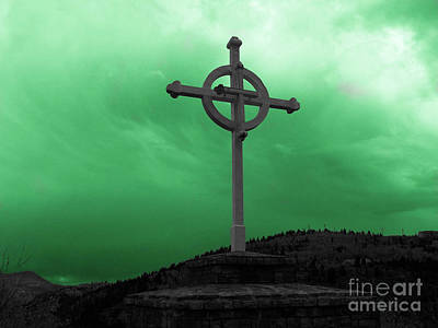 Photograph - Old Cross - Green Sky by Tony Baca