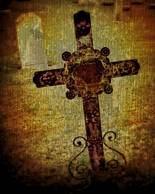 Grave Yards Photograph - Old Cross by Perry Webster