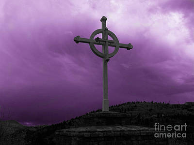 Photograph - Old Cross - Purple Sky by Tony Baca