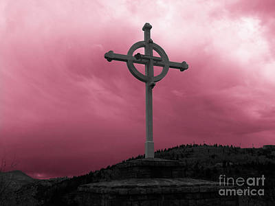 Photograph - Old Cross - Red Sky by Tony Baca