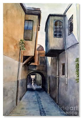 Damascus Painting - Old Damascus . Old Houses by Alber Assi