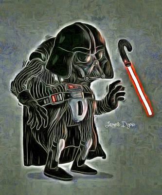 Warriors Painting - Old Darth Vader by Leonardo Digenio