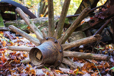 Old Objects Photograph - Old Decaying Wagon Wheel by Tom Mc Nemar