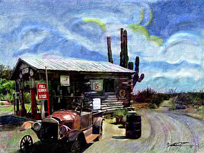 Old Desert Gas Station Art Print