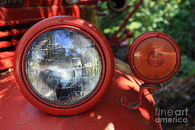 Old Trucks Photograph - Old Dodge Fire Truck Headlight In Colour by Larry Whiting