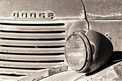 Photograph - Old Dodge Truck Headlight And Grill Bw by Jerry Fornarotto