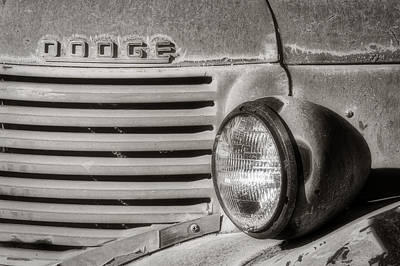 Photograph - Old Dodge Truck Headlight And Grill Grunge Bw by Jerry Fornarotto