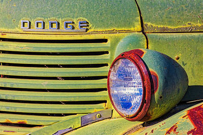 Photograph - Old Dodge Truck Headlight And Grill Grunge by Jerry Fornarotto