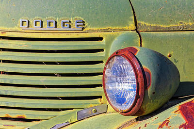 Photograph - Old Dodge Truck Headlight And Grill by Jerry Fornarotto