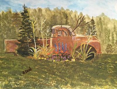 Painting - Old Dodge Truck In Garden by Anne Sands