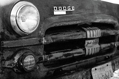 Photograph - Old Dodge Truck - Rust Bucket - Bw - Water Paper 02 by Pamela Critchlow