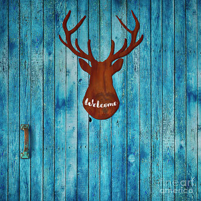 Old Cabins Digital Art - Old Door And Stag Welcome by Tina Lavoie