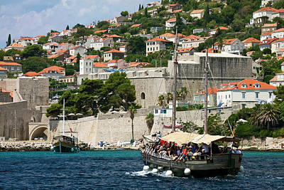 Photograph - Old Dubrovnik And Tourboat by Sally Weigand